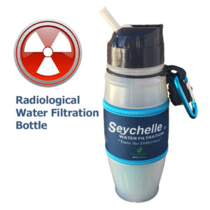 Radiological water filtration bottle